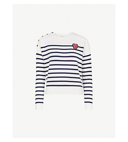 MAJE Maximus striped knitted jumper (Multi-coloured