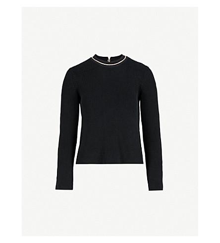 MAJE Melting chain-embellished knitted jumper (Black