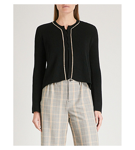 MAJE Meridien chain-embellished knitted cardigan (Black