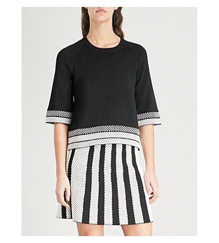 MAJE Minora striped-trim knitted top (Black