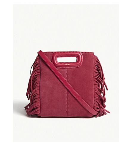 MAJE Mini M suede shoulder bag (Pink