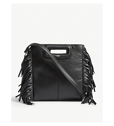 MAJE M mini Lea leather cross-body bag (Black