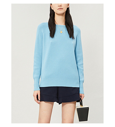 MAJE Moon cross-over strap knitted jumper (Blue+sky