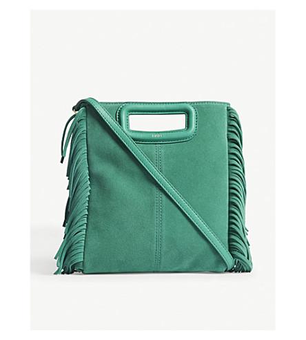 MAJE M suede shoulder bag (Dark+green