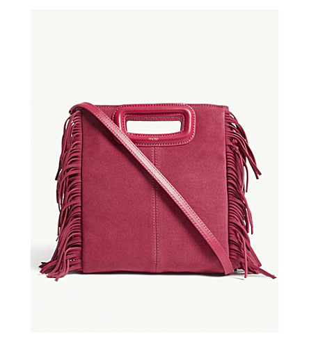 MAJE M suede fringed cross-body bag (Purple
