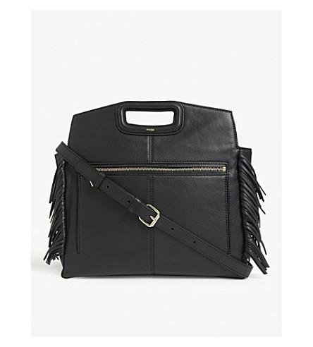 MAJE M fringed leather shoulder bag (Black
