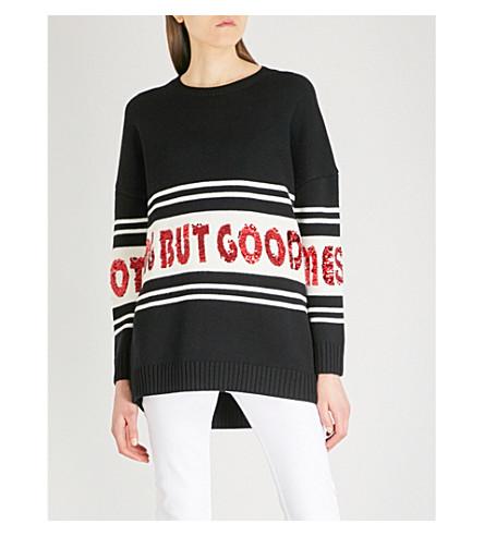 MAJE Mystique sequin-embellished knitted jumper (Black