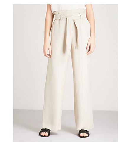 MAJE Pachira wide-leg high-rise woven trousers (Cream