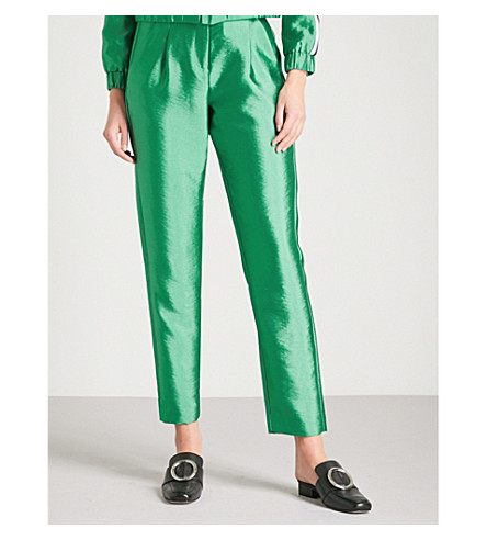 MAJE Knotted-belt tapered high-rise satin trousers (Green