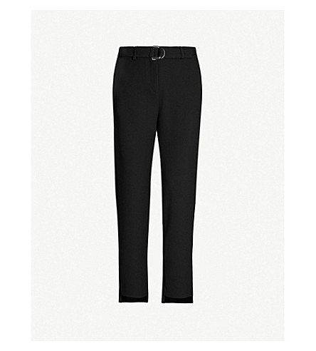 MAJE Palmy high-rise tapered woven trousers (Black