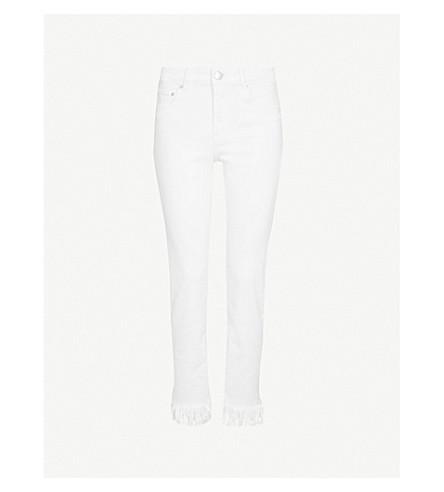 MAJE Panaki frayed-hem skinny high-rise jeans (White