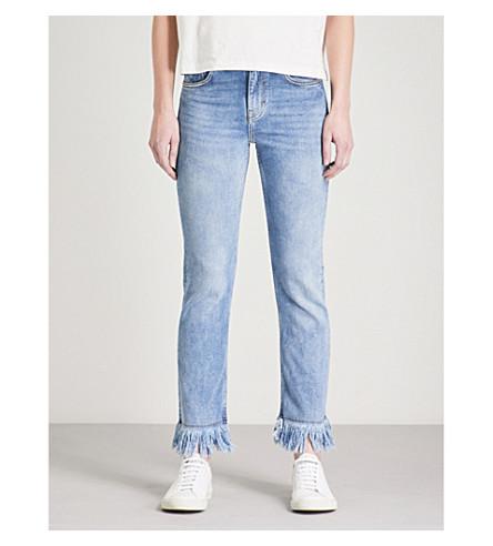 MAJE Panakou frayed-hem skinny high-rise jeans (Blue