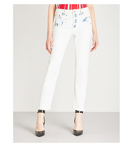 MAJE Paoline straight high-rise jeans (White