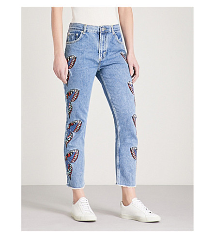 MAJE Papillon butterfly-embroidered straight high-rise jeans (Blue