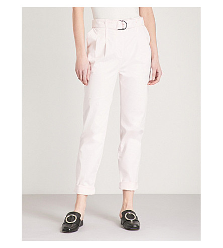 MAJE Parissou tapered stretch-cotton trousers (Pale+pink