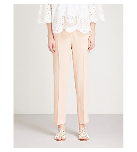 MAJE Pasile tapered cropped woven trousers (Pink