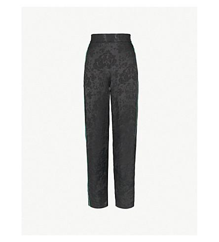 MAJE Pasito side-stripe floral-jacquard wide-leg trousers (Black