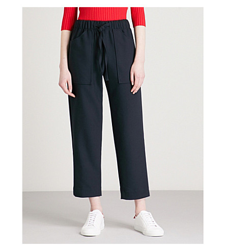 MAJE Pavot high-rise woven trousers (Blue