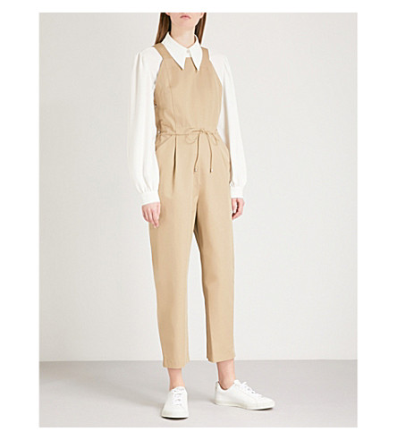 MAJE Peplin cotton-twill jumpsuit (Beige