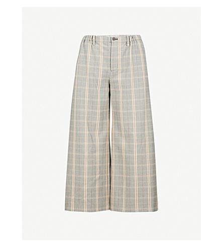 MAJE Perse check wide-leg high-rise woven trousers (Carreaux