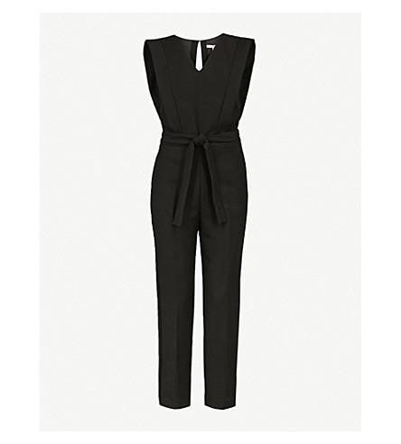 MAJE Plana sleeveless cotton-blend jumpsuit (Black