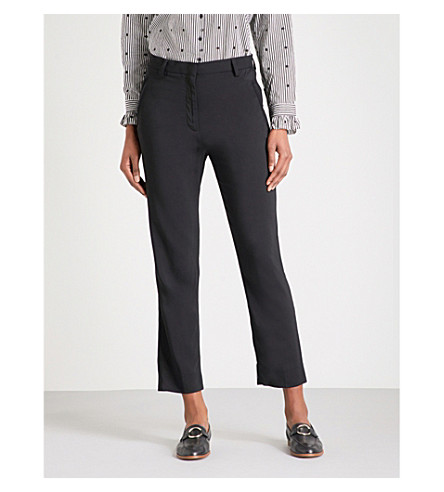MAJE Plaza Core cropped woven trousers (Black+210