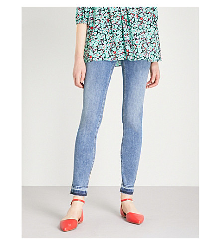 MAJE Probin released-hem skinny high-rise jeans (Blue