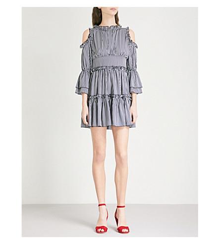 MAJE Radise cold-shoulder pinstriped crepe mini dress (Multi-coloured