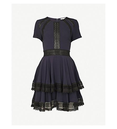 MAJE Raglia crepe and lace dress (Blue