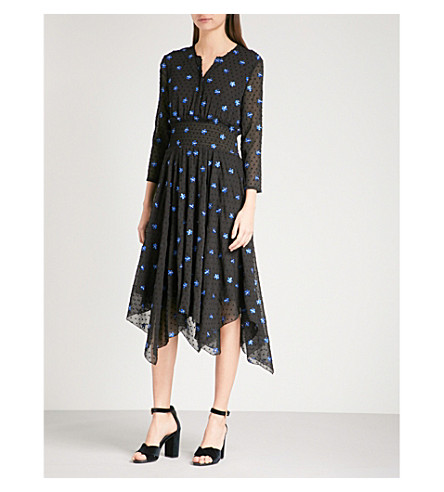MAJE Raiette polka-dot chiffon dress (Black+210