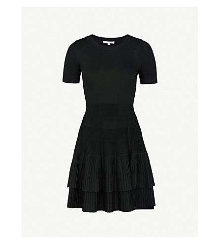 MAJE Raliano pleated ribbed-knit mini dress (Black