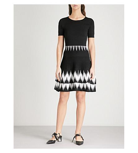 MAJE Patterned knitted dress (Black
