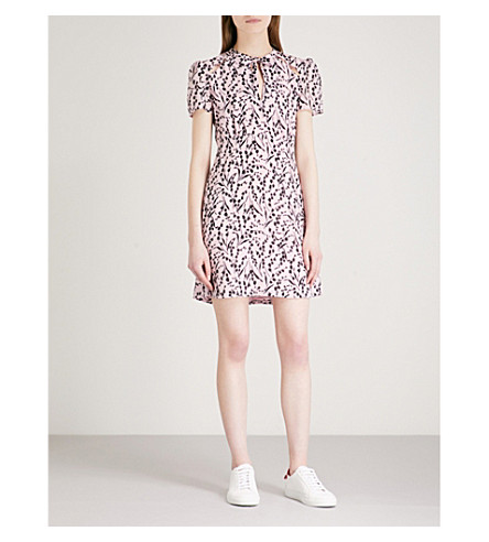 MAJE Rambao floral-print silk-crepe dress (Multi-coloured