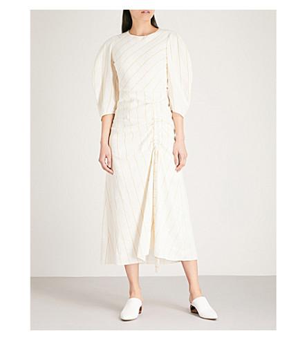 MAJE Ranchi striped cotton and linen-blend dress (Cream