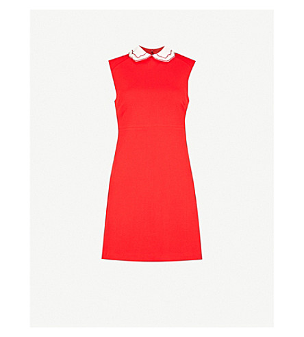 MAJE Rangat Peter Pan collar crepe mini dress (Red