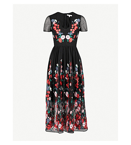 MAJE Raphael floral-embroidered tulle midi dress (Black