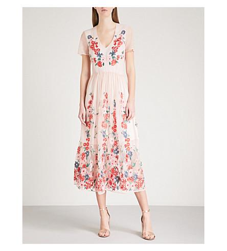 Raphael floral-embroidered tulle midi dress