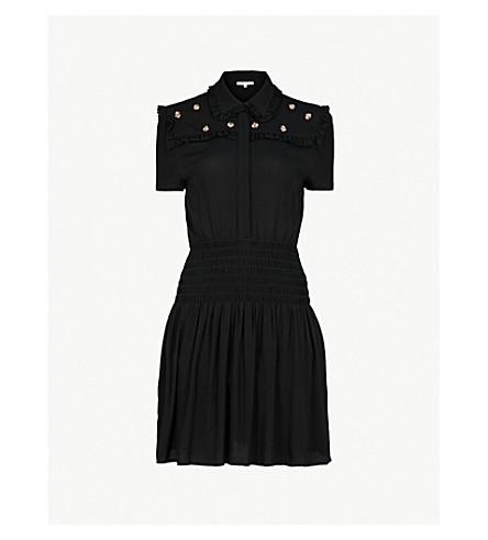 MAJE Ravanna bee-detail crepe dress (Black