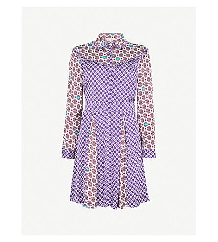 MAJE Reed floral-print satin dress (Multi-coloured