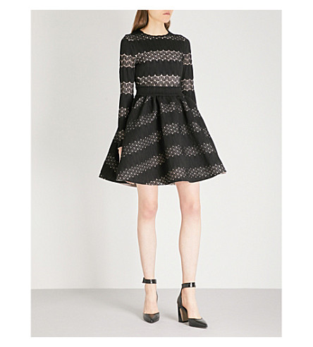 MAJE Relane geometric-patterned lace mini dress (Black