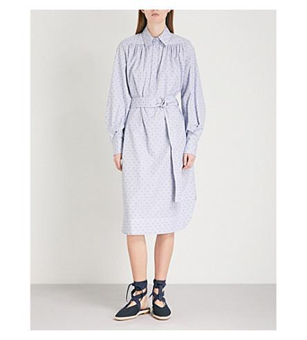 MAJE Relino striped cotton dress (Blue