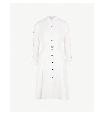 MAJE Trench detail cotton dress (White