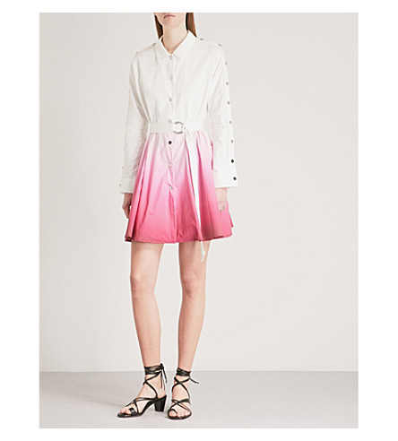 MAJE Renalio belted dip-dyed cotton shirt dress (Multi-coloured
