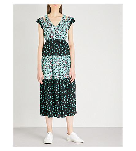MAJE Floral-print crepe maxi dress (Multi-coloured