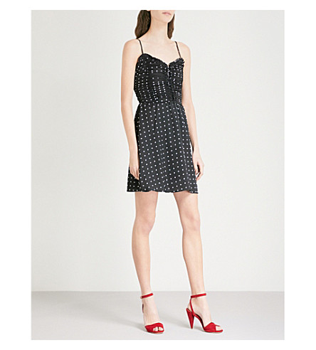 MAJE Renota ruched polka dot crepe mini dress (Black