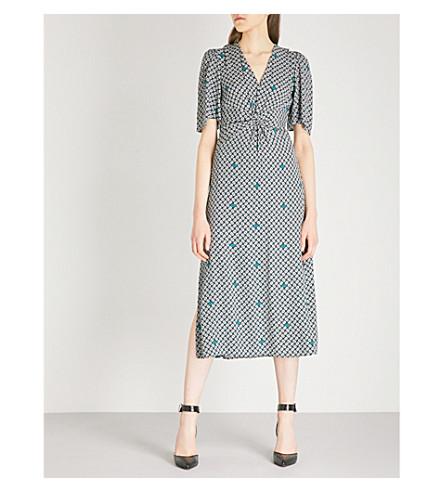 MAJE Geometric floral-print crepe midi dress (Multi-coloured