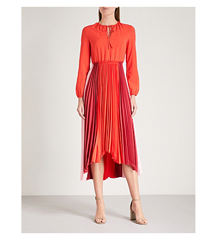 MAJE Reona pleated crepe midi dress (Multi-coloured