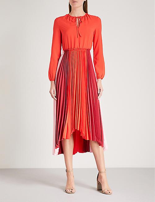 MAJE Reona pleated crepe midi dress