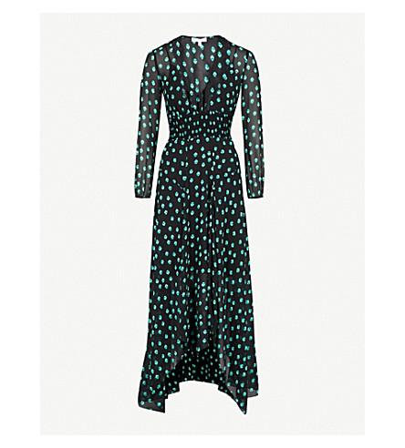 MAJE Revant chiffon midi dress (Multi-coloured