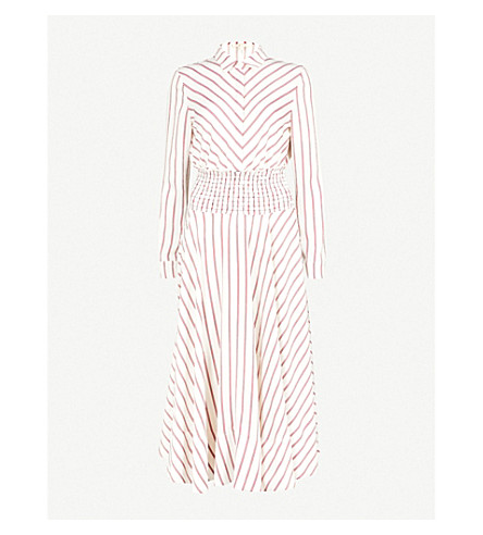 MAJE Smocked waist midi dress (Multi-coloured